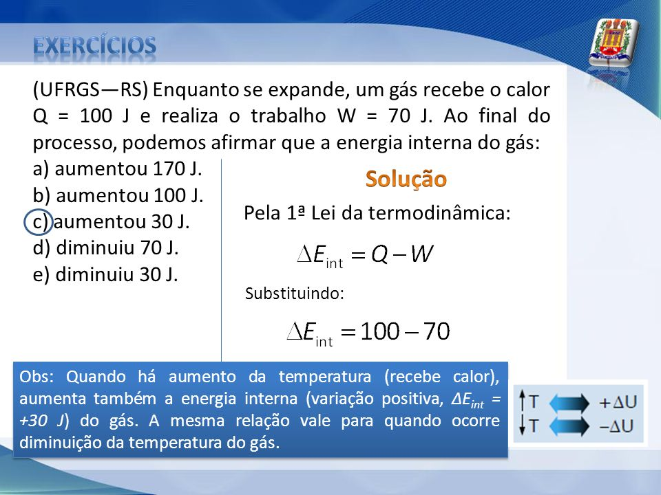 (UFRGSRS) Enquanto se expande, um gás recebe o calor Q = 100 J e realiza o trabalho W = 70 J. Ao final do processo, podemos afirmar que a energia inte