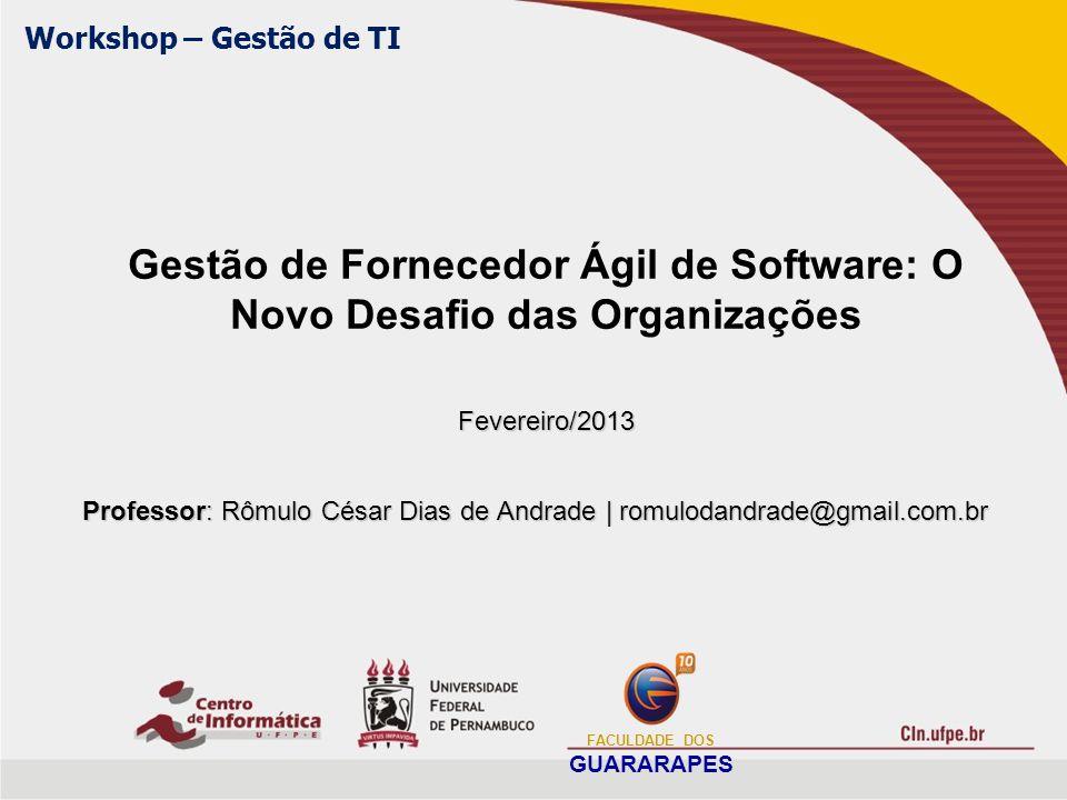 Guideline (3/8) Gerenciamento do Serviço Ágil Tem como objetivo apoiar o ANE no âmbito de serviços com foco em um resultado consistente de manutenção de níveis de entregas das funcionalidades; Tendo como tarefas previstas: Disponibilidade do Serviço de Software, Medição dos Serviços de Software, Solicitações de Serviços de Software, Manutenção dos Serviços de Software, Gestão de Desempenho do Fornecedor ; O produto desse guideline é um relatório do gerenciamento dos serviços ágeis; FACULDADE DOS GUARARAPES