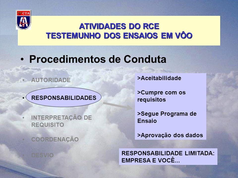 ATIVIDADES DO RCE TESTEMUNHO DOS ENSAIOS EM VÔO Procedimentos de Conduta INTERPRETAÇÃO DE REQUISITO COORDENAÇÃO DESVIO >Aceitabilidade >Cumpre com os requisitos >Segue Programa de Ensaio >Aprovação dos dados AUTORIDADE RESPONSABILIDADES RESPONSABILIDADE LIMITADA: EMPRESA E VOCÊ...