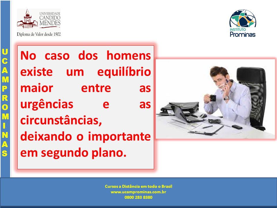 Cursos a Distância em todo o Brasil www.institutoprominas.com.br 0800 283 8380 UCAMPROMINASUCAMPROMINAS UCAMPROMINASUCAMPROMINAS Cursos a Distância em todo o Brasil www.ucamprominas.com.br 0800 283 8380 Cursos a Distância em todo o Brasil www.institutoprominas.com.br 0800 283 8380 Cursos a Distância em todo o Brasil www.ucamprominas.com.br 0800 283 8380 No caso dos homens existe um equilíbrio maior entre as urgências e as circunstâncias, deixando o importante em segundo plano.