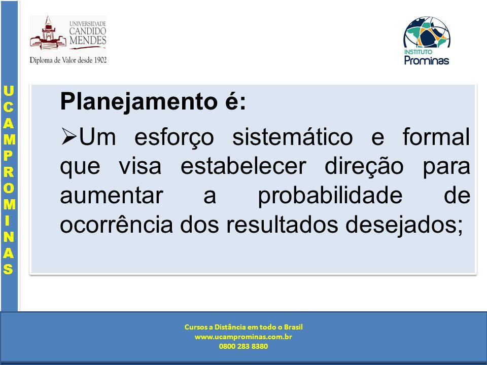 Cursos a Distância em todo o Brasil www.institutoprominas.com.br 0800 283 8380 UCAMPROMINASUCAMPROMINAS UCAMPROMINASUCAMPROMINAS Cursos a Distância em todo o Brasil www.ucamprominas.com.br 0800 283 8380 Cursos a Distância em todo o Brasil www.institutoprominas.com.br 0800 283 8380 Cursos a Distância em todo o Brasil www.ucamprominas.com.br 0800 283 8380 Planejamento é: Um esforço sistemático e formal que visa estabelecer direção para aumentar a probabilidade de ocorrência dos resultados desejados; Planejamento é: Um esforço sistemático e formal que visa estabelecer direção para aumentar a probabilidade de ocorrência dos resultados desejados;