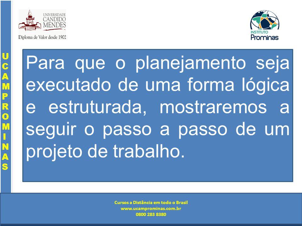 Cursos a Distância em todo o Brasil www.institutoprominas.com.br 0800 283 8380 UCAMPROMINASUCAMPROMINAS UCAMPROMINASUCAMPROMINAS Cursos a Distância em todo o Brasil www.ucamprominas.com.br 0800 283 8380 Cursos a Distância em todo o Brasil www.institutoprominas.com.br 0800 283 8380 Cursos a Distância em todo o Brasil www.ucamprominas.com.br 0800 283 8380 Para que o planejamento seja executado de uma forma lógica e estruturada, mostraremos a seguir o passo a passo de um projeto de trabalho.