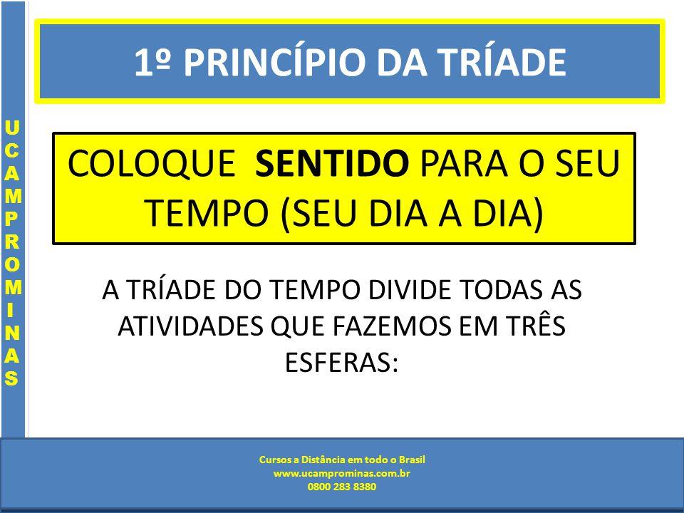 Cursos a Distância em todo o Brasil www.institutoprominas.com.br 0800 283 8380 UCAMPROMINASUCAMPROMINAS UCAMPROMINASUCAMPROMINAS Cursos a Distância em todo o Brasil www.ucamprominas.com.br 0800 283 8380 Cursos a Distância em todo o Brasil www.institutoprominas.com.br 0800 283 8380 Cursos a Distância em todo o Brasil www.ucamprominas.com.br 0800 283 8380 COLOQUE SENTIDO PARA O SEU TEMPO (SEU DIA A DIA) A TRÍADE DO TEMPO DIVIDE TODAS AS ATIVIDADES QUE FAZEMOS EM TRÊS ESFERAS: 1º PRINCÍPIO DA TRÍADE