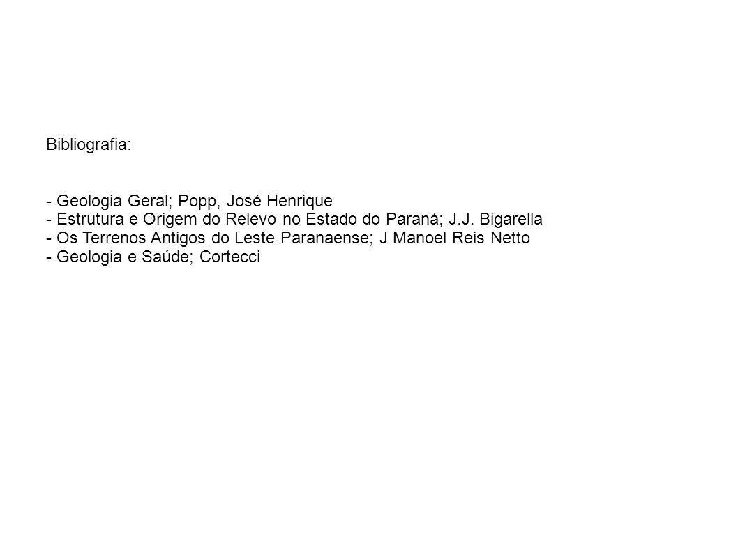 Bibliografia: - Geologia Geral; Popp, José Henrique - Estrutura e Origem do Relevo no Estado do Paraná; J.J. Bigarella - Os Terrenos Antigos do Leste