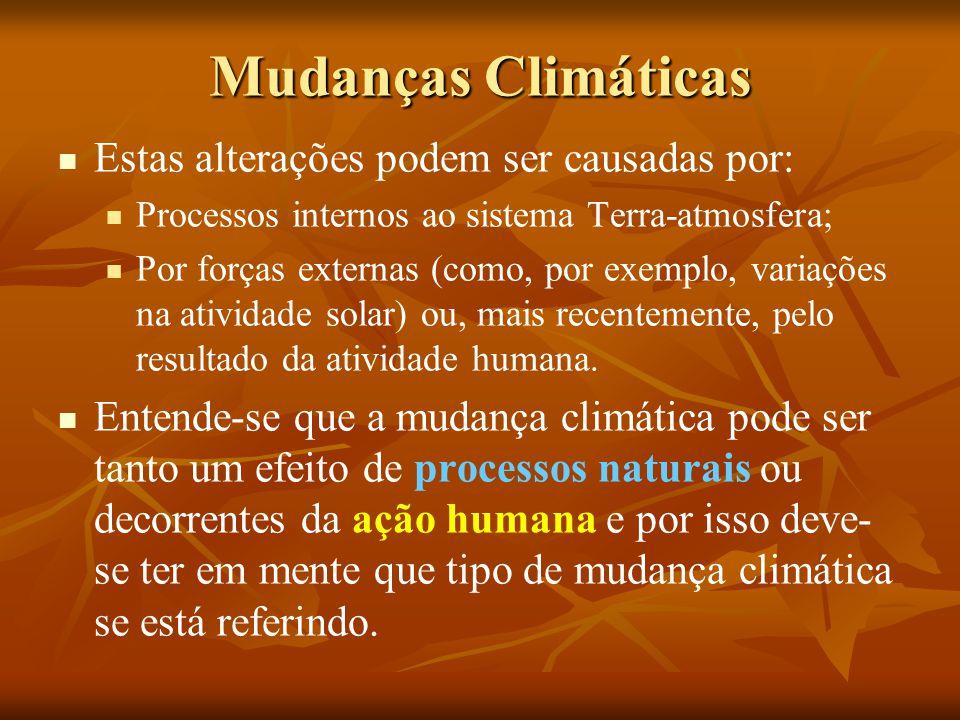 Mudanças Climáticas Estas alterações podem ser causadas por: Processos internos ao sistema Terra-atmosfera; Por forças externas (como, por exemplo, variações na atividade solar) ou, mais recentemente, pelo resultado da atividade humana.