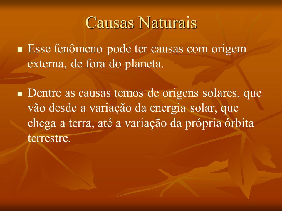 Causas Naturais Esse fenômeno pode ter causas com origem externa, de fora do planeta.