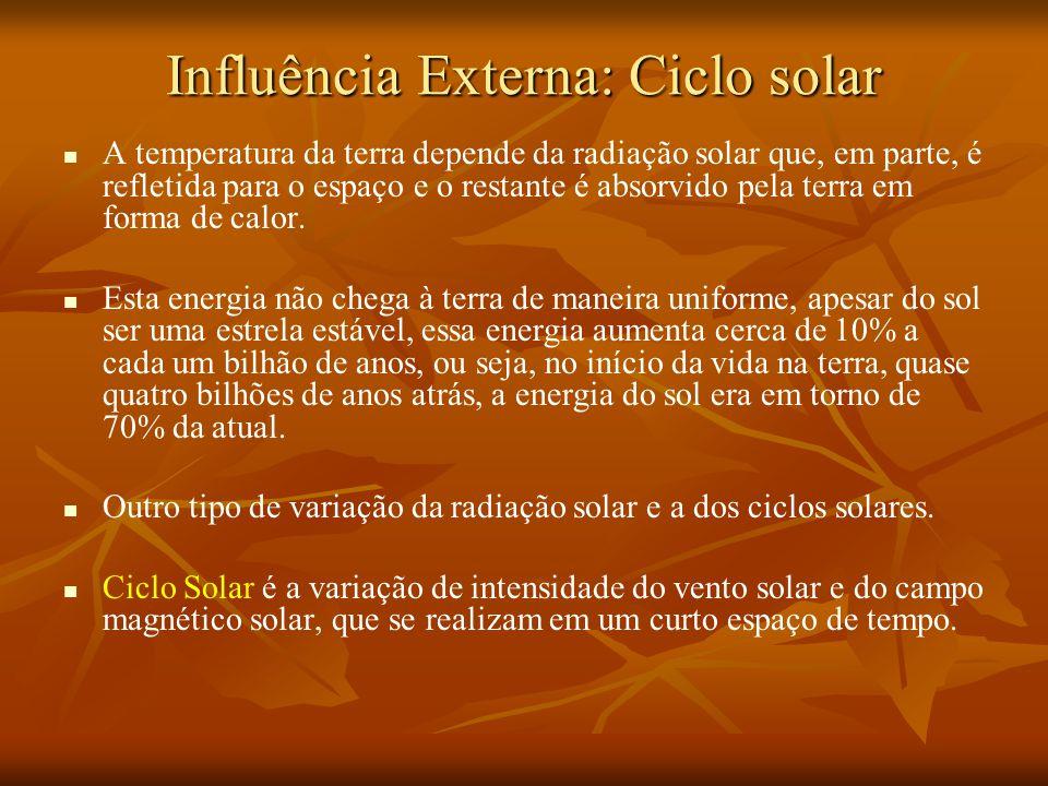 Influência Externa: Ciclo solar A temperatura da terra depende da radiação solar que, em parte, é refletida para o espaço e o restante é absorvido pela terra em forma de calor.