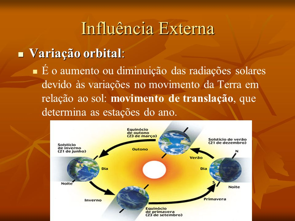 Influência Interna Deriva dos continentes: Mudanças provocadas pela Deriva Continental (movimento das placas tectônicas) aproximando ou afastando-se dos pólos.