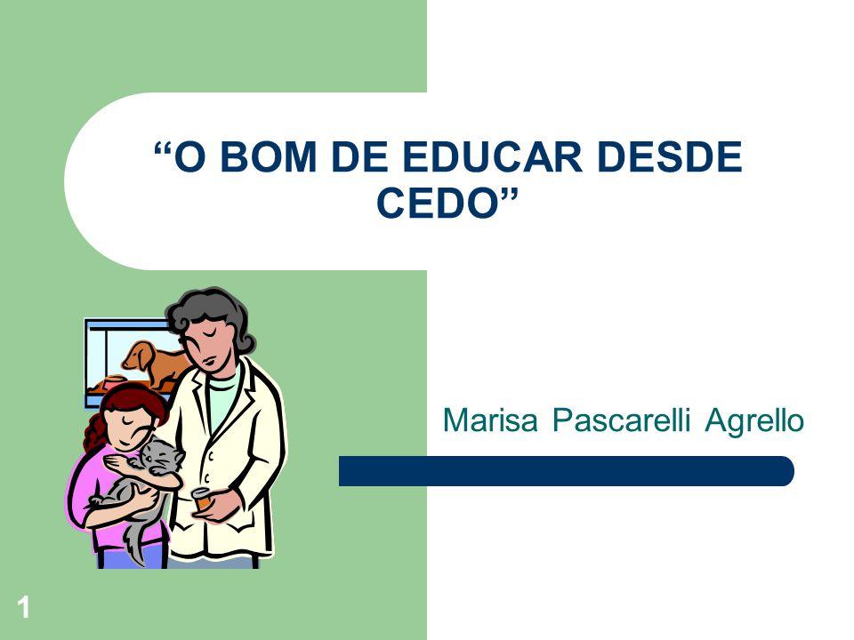 1 O BOM DE EDUCAR DESDE CEDO Marisa Pascarelli Agrello