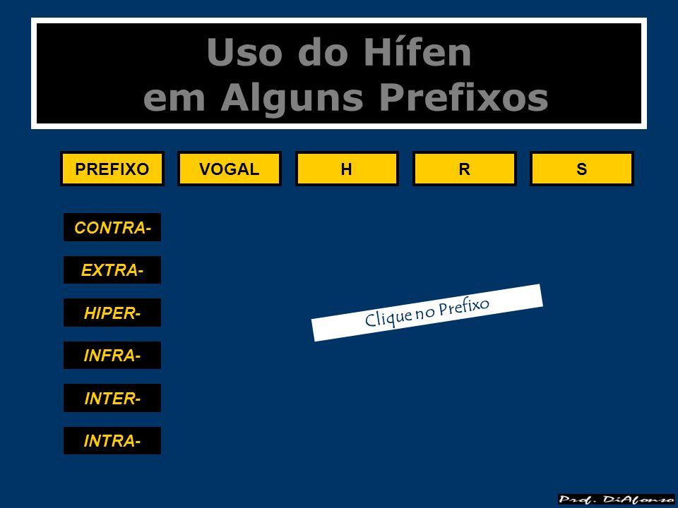 Uso do Hífen em Alguns Prefixos PREFIXOVOGALHRS CONTRA- EXTRA- HIPER- INFRA- INTER- INTRA- Clique no Prefixo