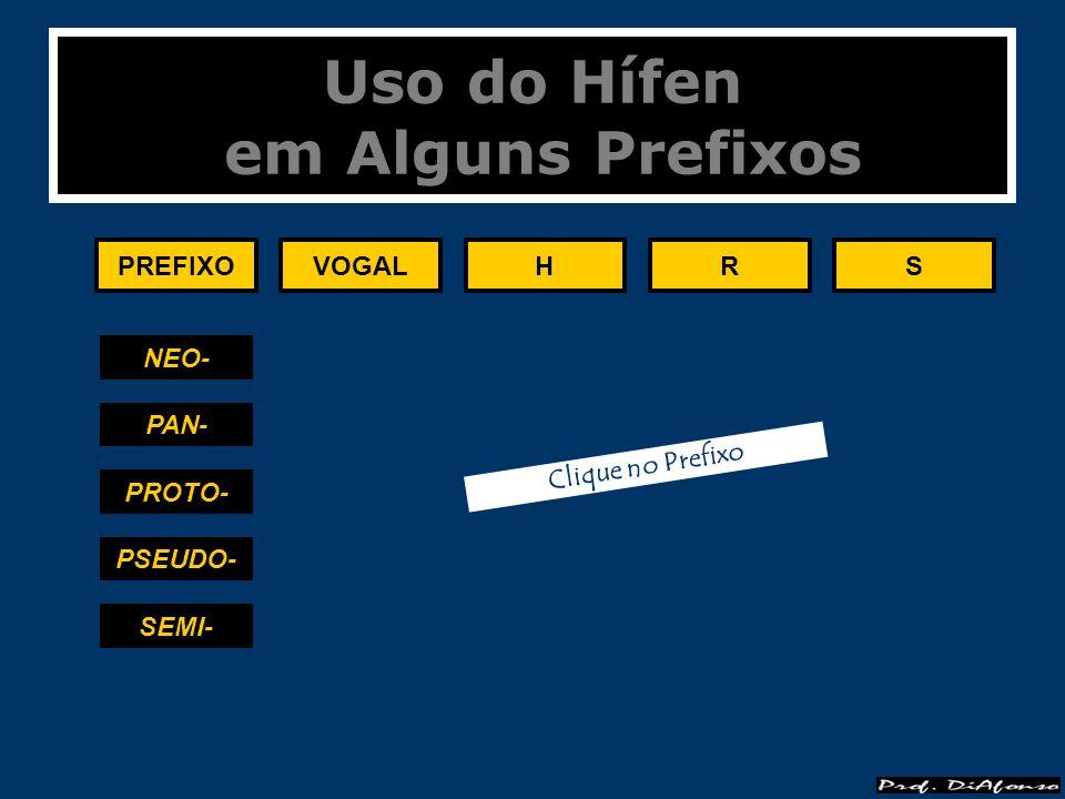 Uso do Hífen em Alguns Prefixos PREFIXOVOGALHRS SOBRE- SUB- SUPER- SUPRA- ULTRA- Clique no Prefixo