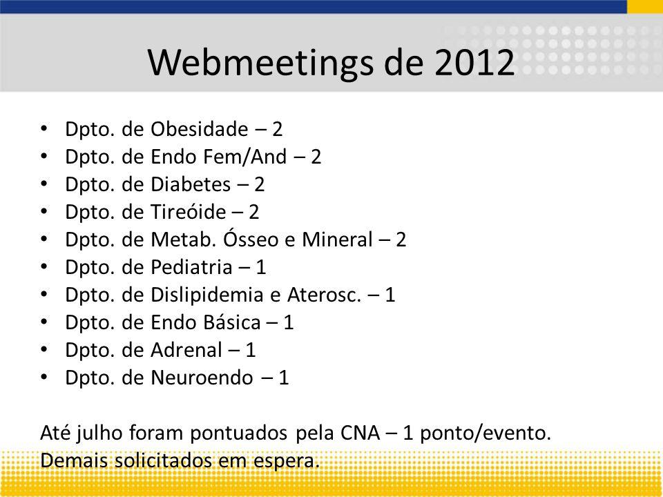 Webmeetings de 2012 Dpto. de Obesidade – 2 Dpto. de Endo Fem/And – 2 Dpto. de Diabetes – 2 Dpto. de Tireóide – 2 Dpto. de Metab. Ósseo e Mineral – 2 D