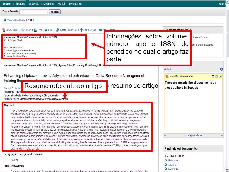Aqui você tem o resumo do artigo Informações sobre volume, número, ano e ISSN do periódico no qual o artigo faz parte Resumo referente ao artigo