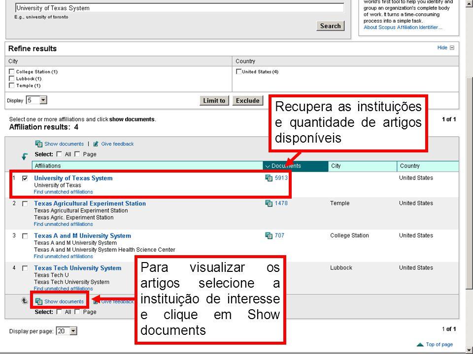 Recupera as instituições e quantidade de artigos disponíveis Para visualizar os artigos selecione a instituição de interesse e clique em Show document