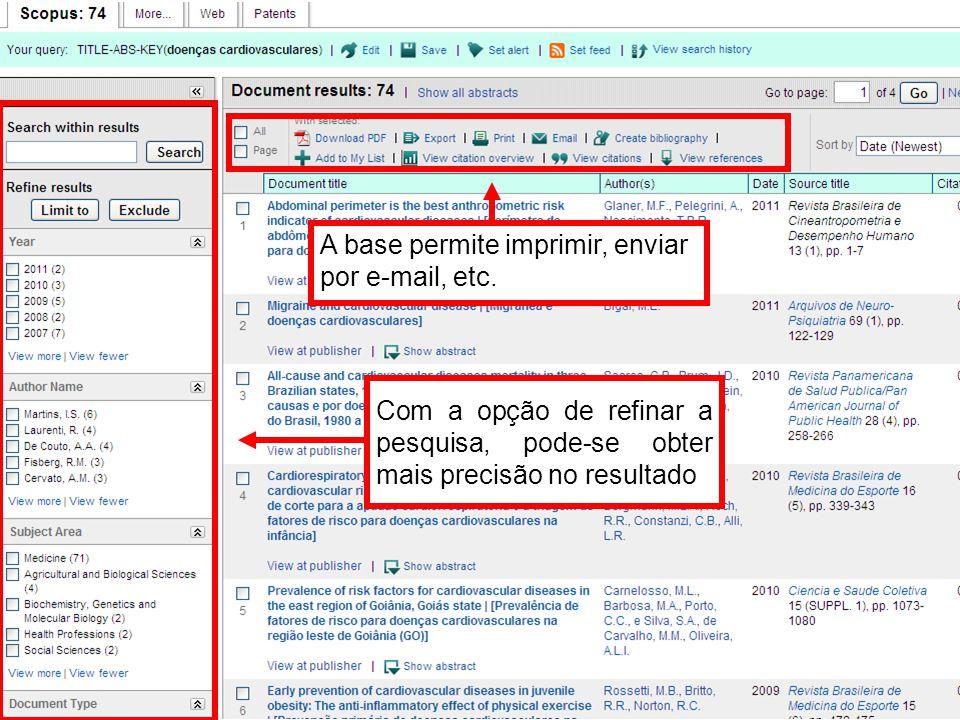 Com a opção de refinar a pesquisa, pode-se obter mais precisão no resultado A base permite imprimir, enviar por e-mail, etc.