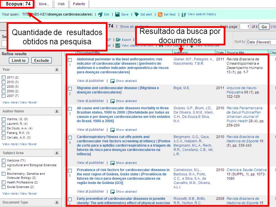 Quantidade de resultados obtidos na pesquisa Resultado da busca por documentos