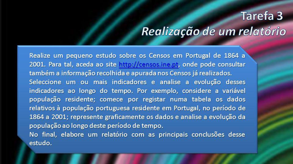 Realize um pequeno estudo sobre os Censos em Portugal de 1864 a 2001. Para tal, aceda ao site http://censos.ine.pt, onde pode consultar também a infor