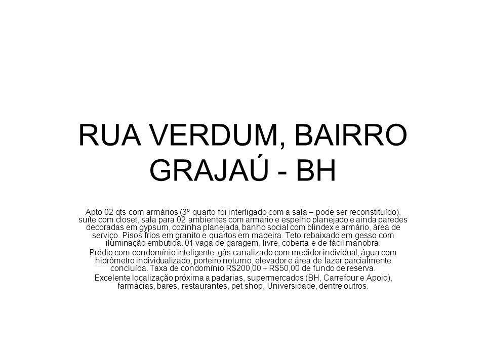 RUA VERDUM, BAIRRO GRAJAÚ - BH Apto 02 qts com armários (3º quarto foi interligado com a sala – pode ser reconstituído), suíte com closet, sala para 0
