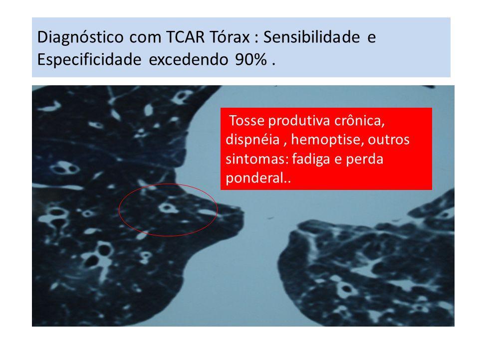 Diagnóstico com TCAR Tórax : Sensibilidade e Especificidade excedendo 90%. Tosse produtiva crônica, dispnéia, hemoptise, outros sintomas: fadiga e per