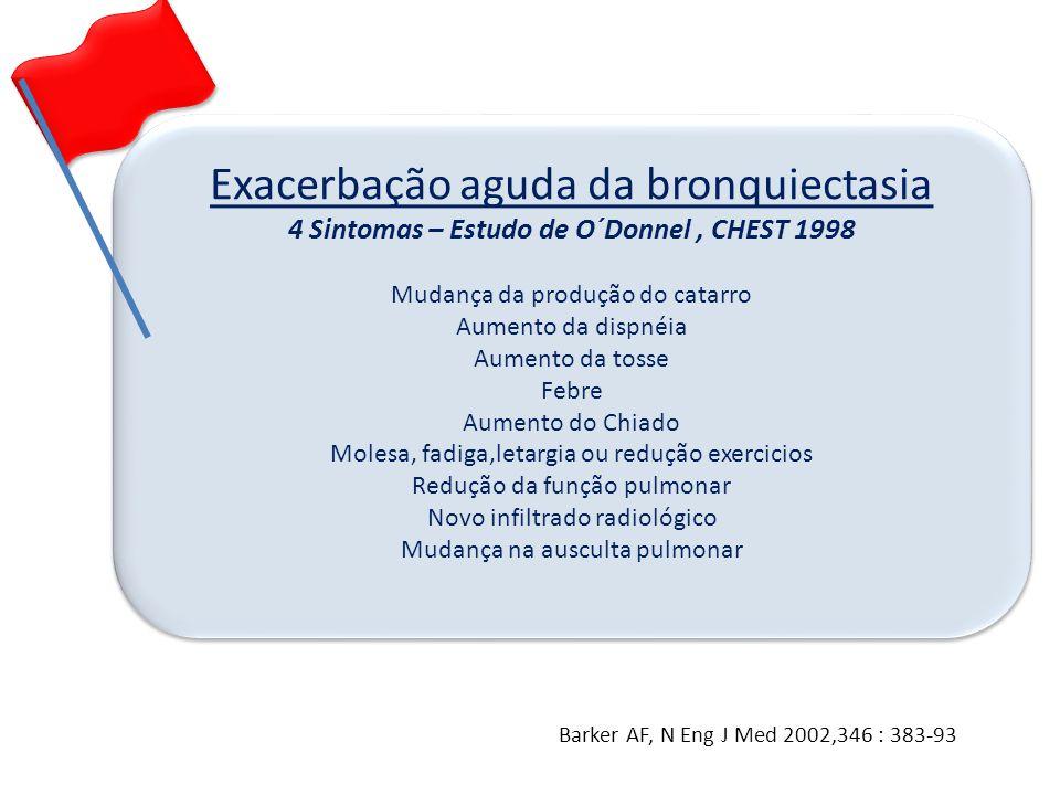 Exacerbação aguda da bronquiectasia 4 Sintomas – Estudo de O´Donnel, CHEST 1998 Mudança da produção do catarro Aumento da dispnéia Aumento da tosse Fe