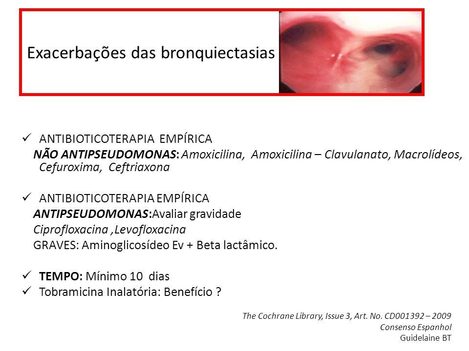 Exacerbações das bronquiectasias ANTIBIOTICOTERAPIA EMPÍRICA NÃO ANTIPSEUDOMONAS: Amoxicilina, Amoxicilina – Clavulanato, Macrolídeos, Cefuroxima, Cef