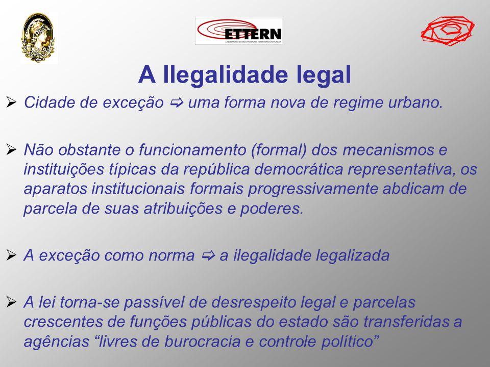 A Ilegalidade legal Cidade de exceção uma forma nova de regime urbano. Não obstante o funcionamento (formal) dos mecanismos e instituições típicas da