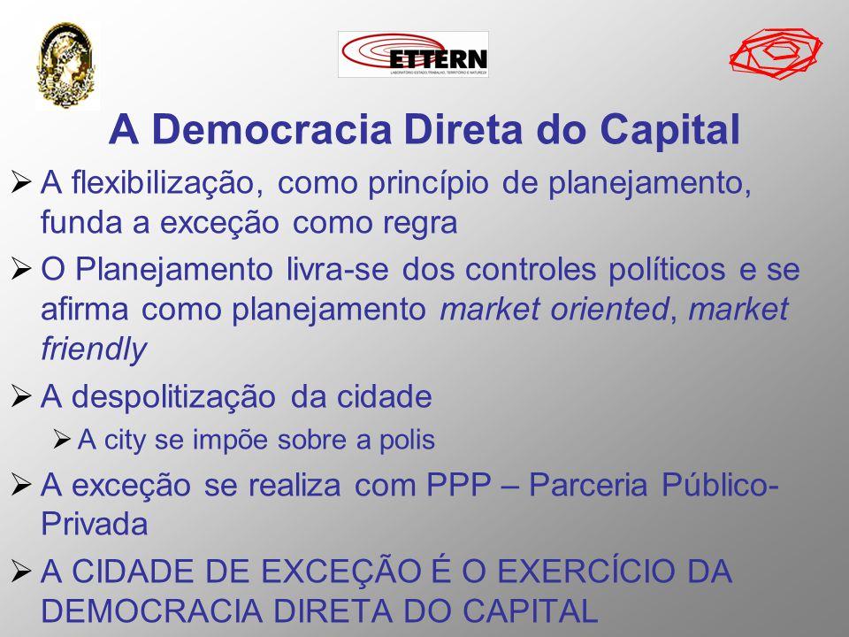 A Democracia Direta do Capital A flexibilização, como princípio de planejamento, funda a exceção como regra O Planejamento livra-se dos controles polí
