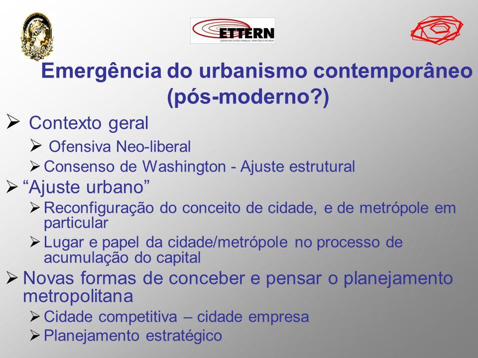 Emergência do urbanismo contemporâneo (pós-moderno?) Contexto geral Ofensiva Neo-liberal Consenso de Washington - Ajuste estrutural Ajuste urbano Reco