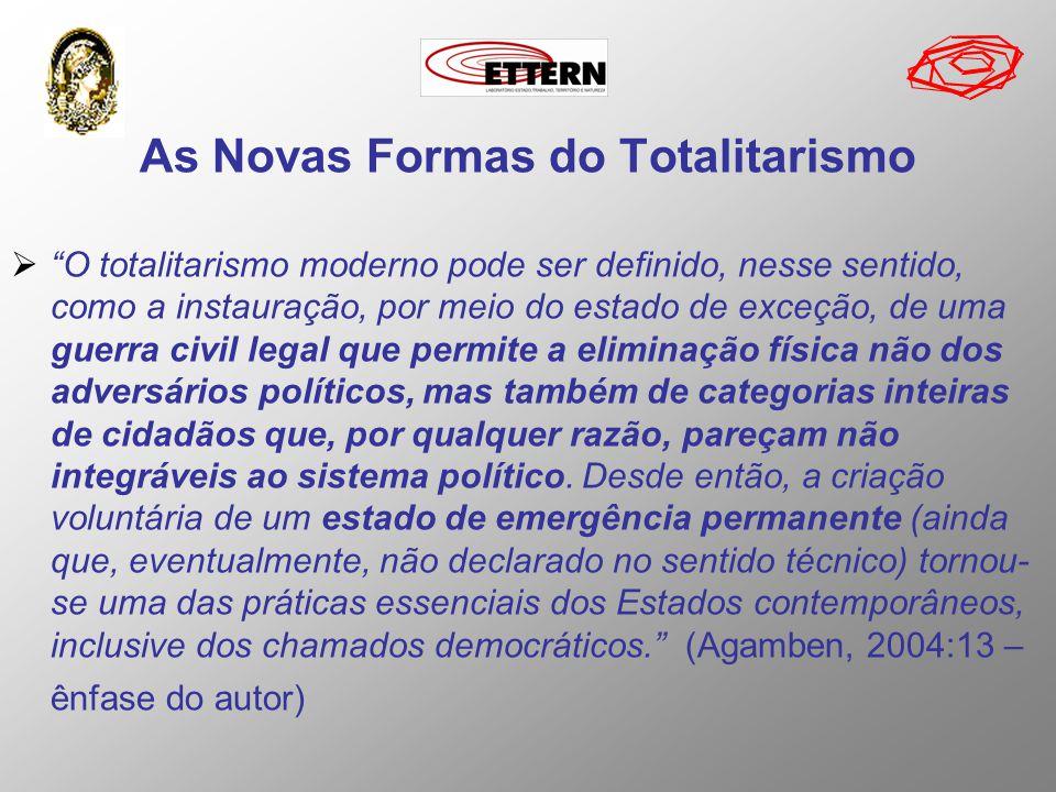 As Novas Formas do Totalitarismo O totalitarismo moderno pode ser definido, nesse sentido, como a instauração, por meio do estado de exceção, de uma g