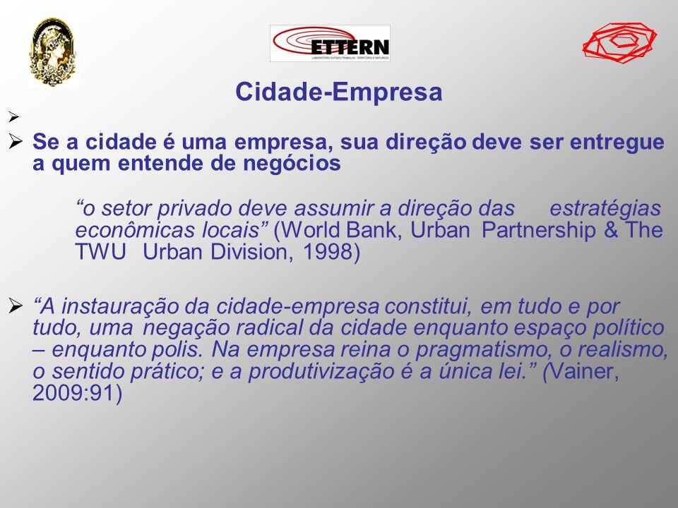 Cidade-Empresa Se a cidade é uma empresa, sua direção deve ser entregue a quem entende de negócios o setor privado deve assumir a direção das estratég