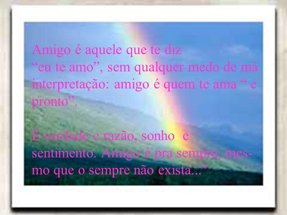 Amigo é aquele que te diz eu te amo, sem qualquer medo de má interpretação: amigo é quem te ama e pronto. É verdade e razão, sonho e sentimento. Amigo