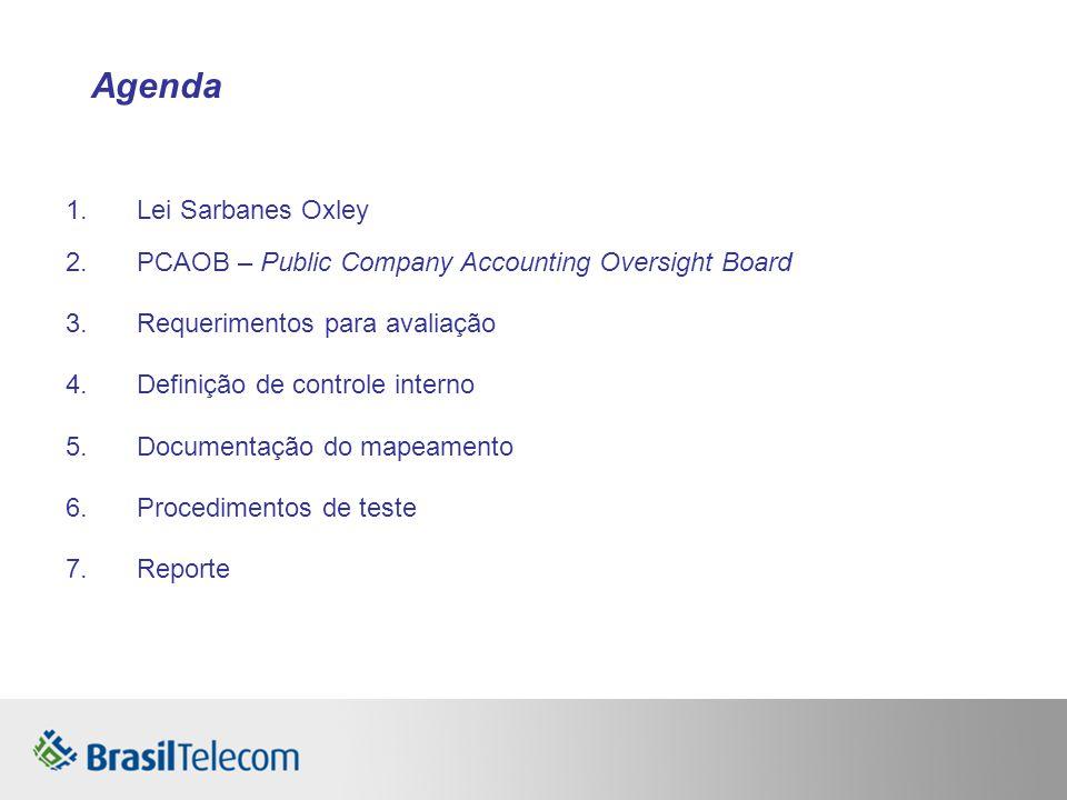 1.Lei Sarbanes Oxley 2.PCAOB – Public Company Accounting Oversight Board 3.Requerimentos para avaliação 4.Definição de controle interno 5.Documentação