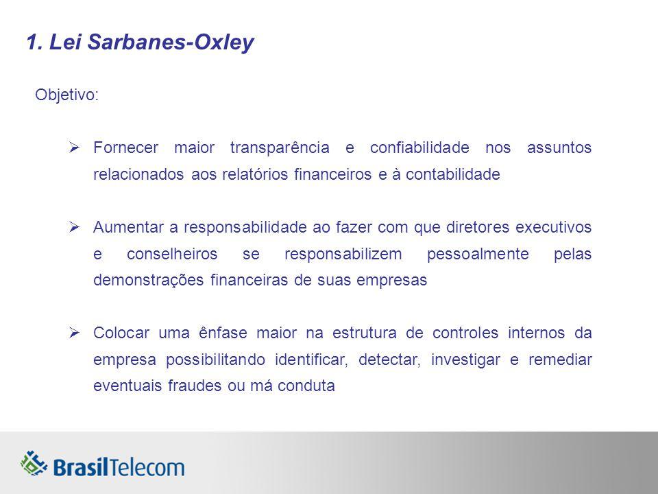 1. Lei Sarbanes-Oxley Objetivo: Fornecer maior transparência e confiabilidade nos assuntos relacionados aos relatórios financeiros e à contabilidade A