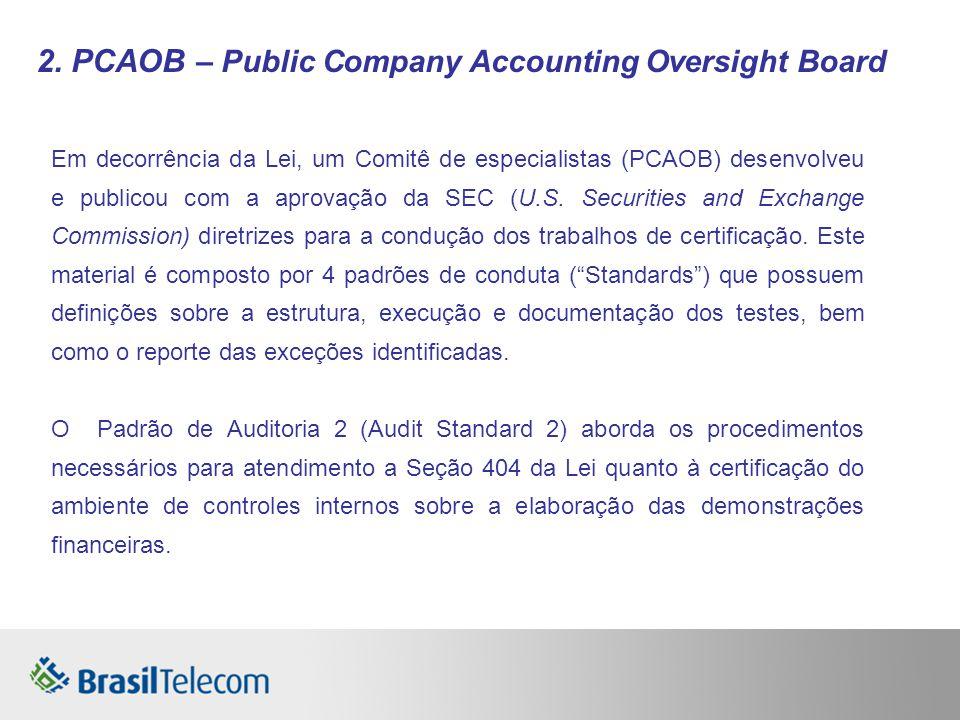 2. PCAOB – Public Company Accounting Oversight Board Em decorrência da Lei, um Comitê de especialistas (PCAOB) desenvolveu e publicou com a aprovação