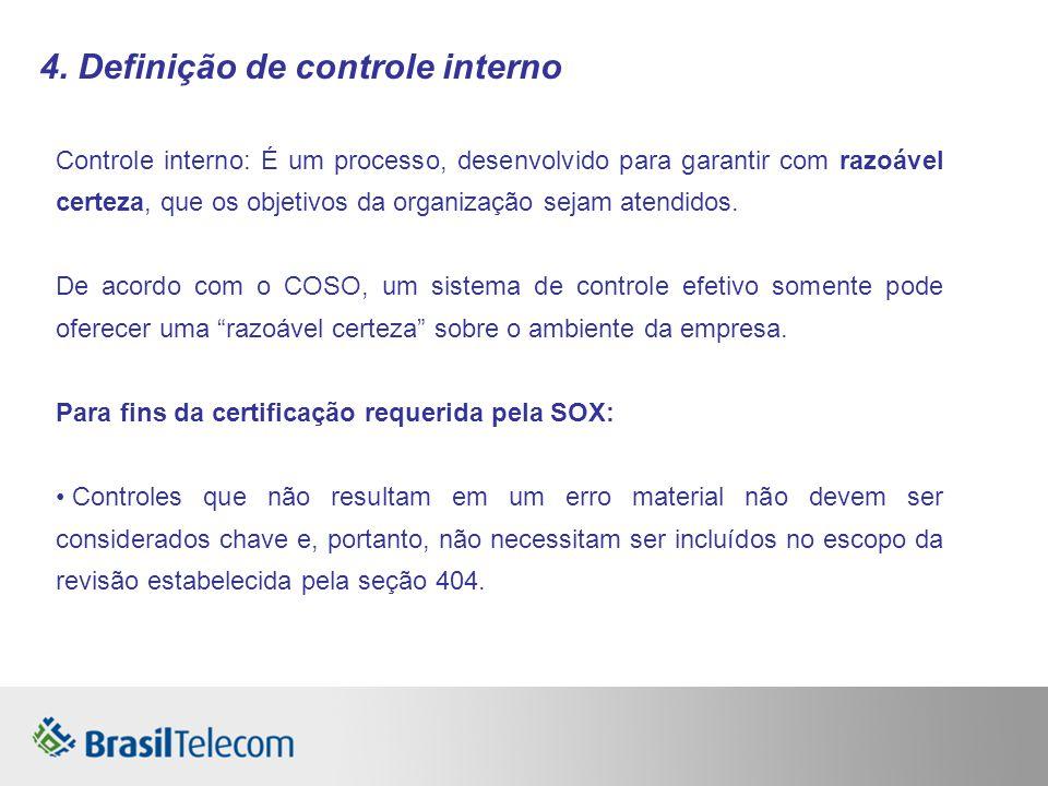 4. Definição de controle interno Controle interno: É um processo, desenvolvido para garantir com razoável certeza, que os objetivos da organização sej