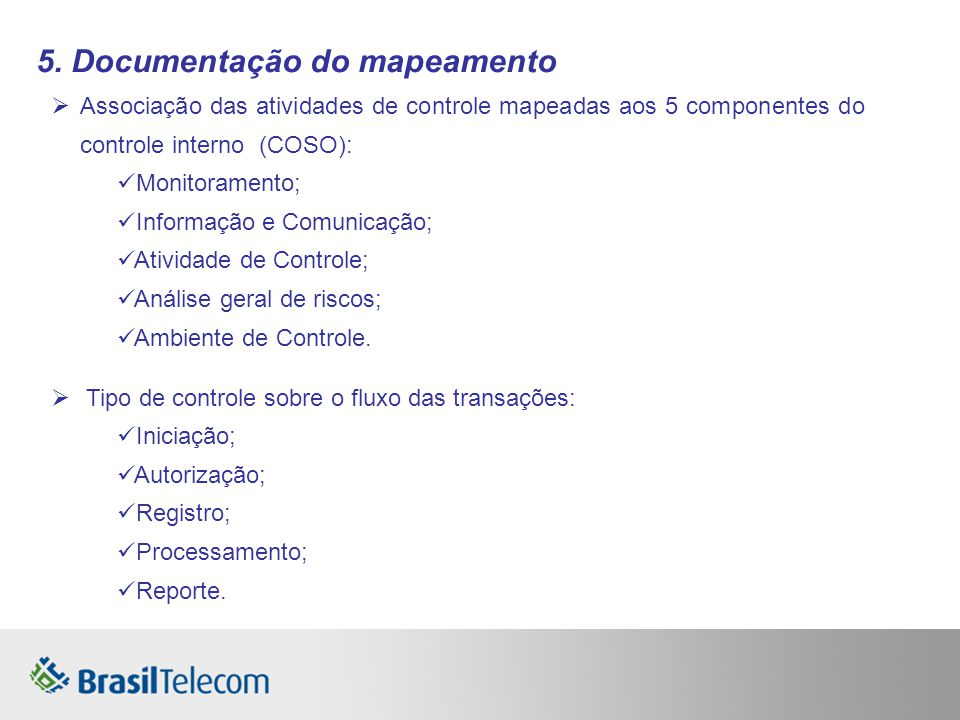 5. Documentação do mapeamento Associação das atividades de controle mapeadas aos 5 componentes do controle interno (COSO): Monitoramento; Informação e