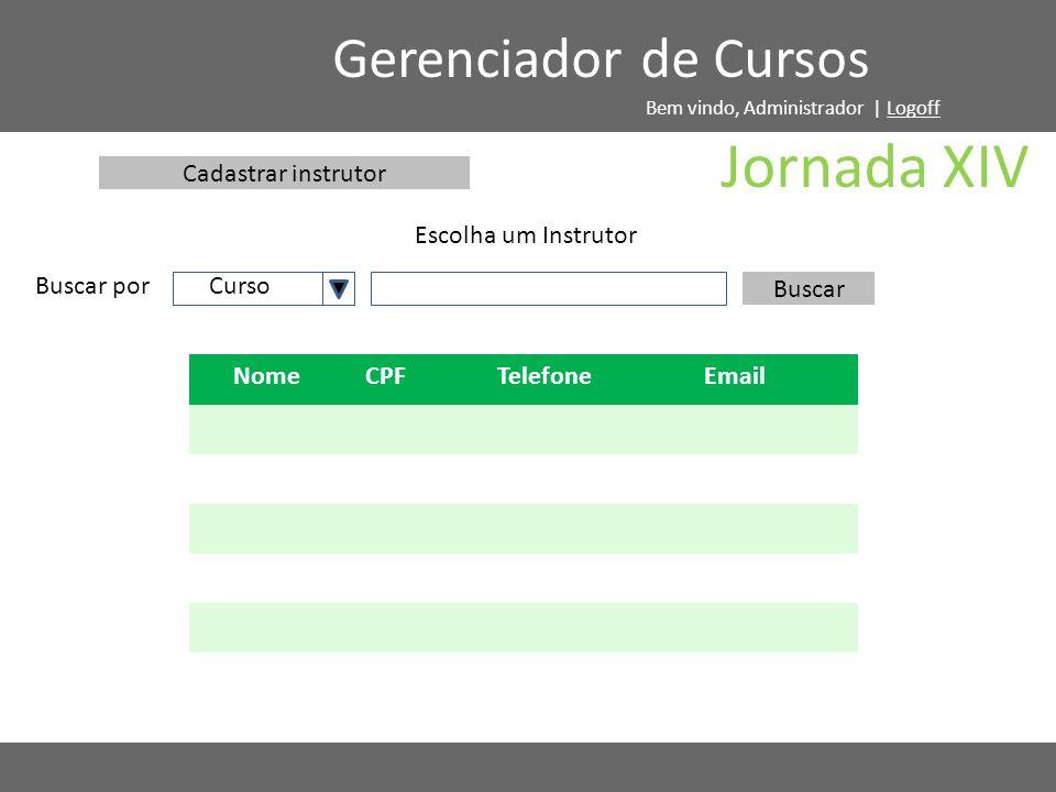 Buscar por Escolha um Instrutor Gerenciador de Cursos Buscar NomeCPFTelefoneEmail Cadastrar instrutor Curso Jornada XIV Bem vindo, Administrador | Log