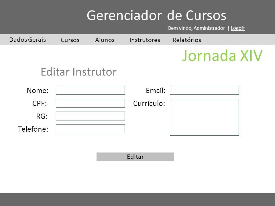 Jornada XIV Cursos Dados Gerais Gerenciador de Cursos Bem vindo, Administrador | Logoff InstrutoresAlunosRelatórios Editar Instrutor Nome: CPF: RG: Te