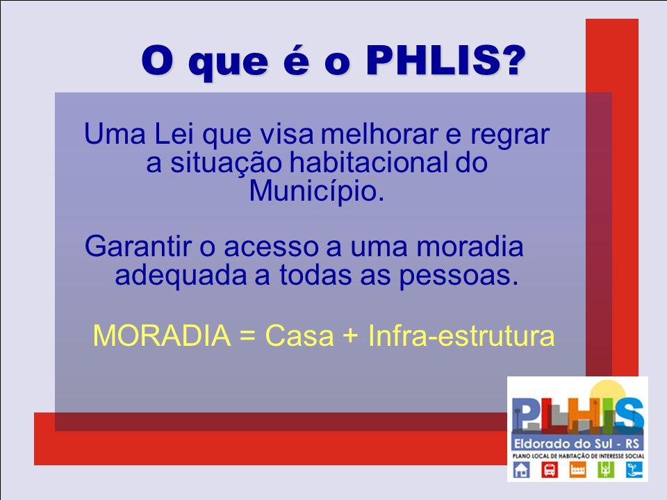 O que é o PHLIS? Uma Lei que visa melhorar e regrar a situação habitacional do Município. Garantir o acesso a uma moradia adequada a todas as pessoas.