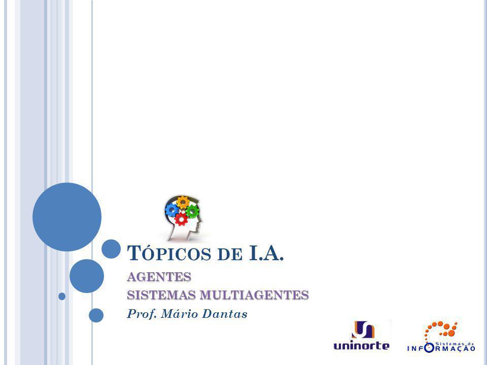 T ÓPICOS DE I.A. AGENTES SISTEMAS MULTIAGENTES Prof. Mário Dantas