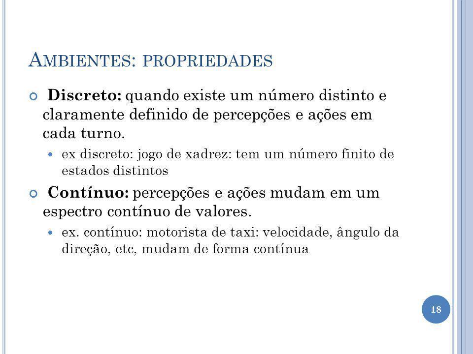A MBIENTES : PROPRIEDADES Discreto: quando existe um número distinto e claramente definido de percepções e ações em cada turno.