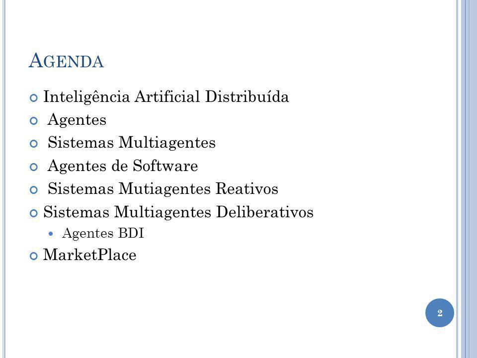 A GENDA Inteligência Artificial Distribuída Agentes Sistemas Multiagentes Agentes de Software Sistemas Mutiagentes Reativos Sistemas Multiagentes Deliberativos Agentes BDI MarketPlace 2