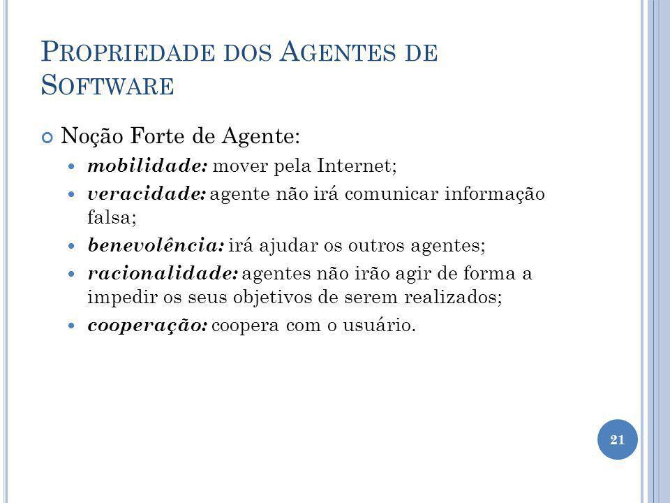 P ROPRIEDADE DOS A GENTES DE S OFTWARE Noção Forte de Agente: mobilidade: mover pela Internet; veracidade: agente não irá comunicar informação falsa;
