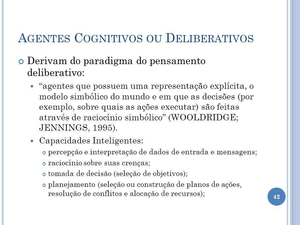A GENTES C OGNITIVOS OU D ELIBERATIVOS Derivam do paradigma do pensamento deliberativo: agentes que possuem uma representação explícita, o modelo simbólico do mundo e em que as decisões (por exemplo, sobre quais as ações executar) são feitas através de raciocínio simbólico (WOOLDRIDGE; JENNINGS, 1995).