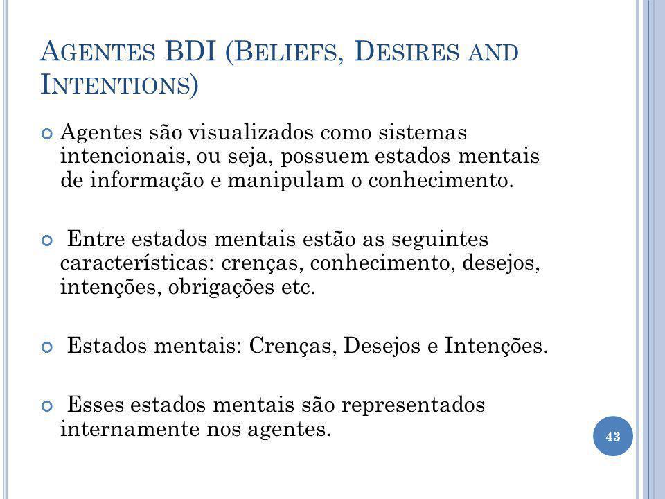 A GENTES BDI (B ELIEFS, D ESIRES AND I NTENTIONS ) Agentes são visualizados como sistemas intencionais, ou seja, possuem estados mentais de informação e manipulam o conhecimento.