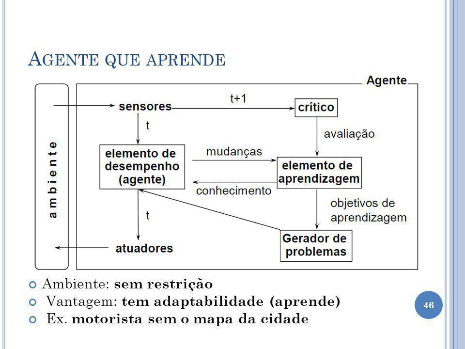 A GENTE QUE APRENDE Ambiente: sem restrição Vantagem: tem adaptabilidade (aprende) Ex. motorista sem o mapa da cidade 46