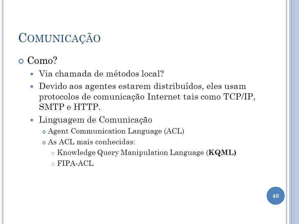 C OMUNICAÇÃO Como? Via chamada de métodos local? Devido aos agentes estarem distribuídos, eles usam protocolos de comunicação Internet tais como TCP/I
