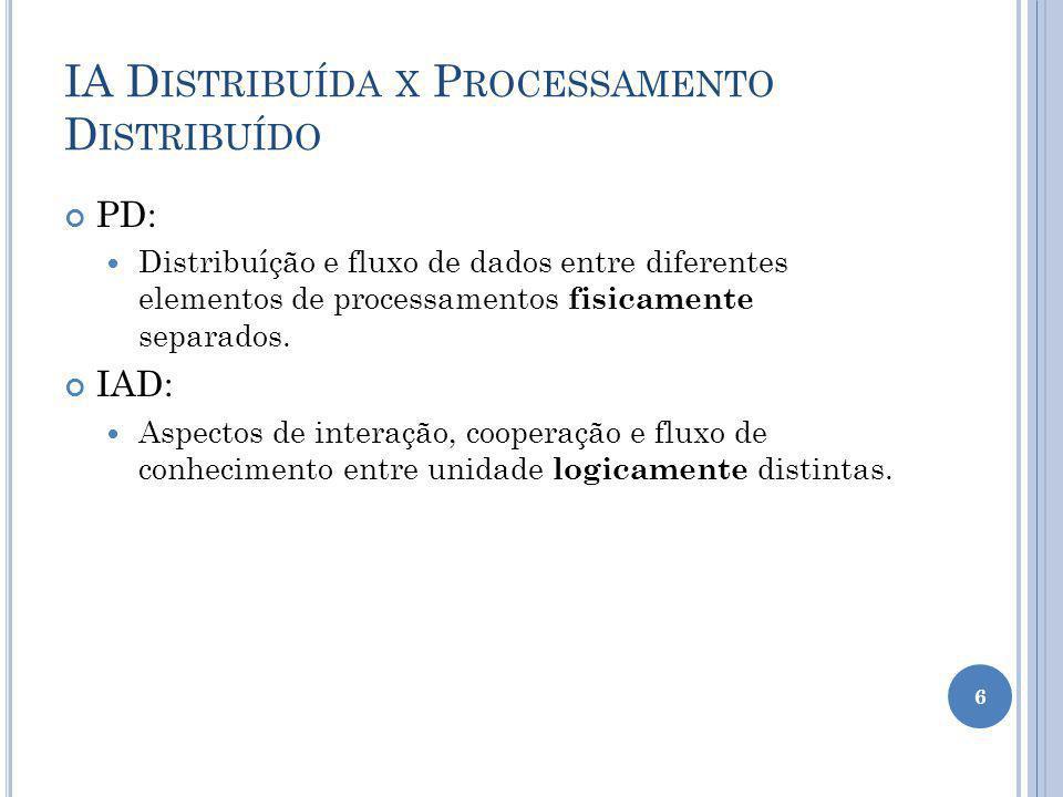 IA D ISTRIBUÍDA X P ROCESSAMENTO D ISTRIBUÍDO PD: Distribuíção e fluxo de dados entre diferentes elementos de processamentos fisicamente separados. IA