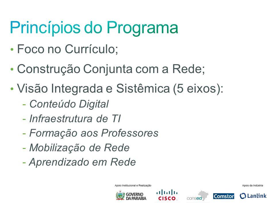 Foco no Currículo; Construção Conjunta com a Rede; Visão Integrada e Sistêmica (5 eixos): - Conteúdo Digital - Infraestrutura de TI - Formação aos Pro