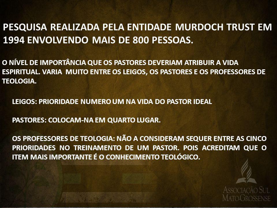 PESQUISA REALIZADA PELA ENTIDADE MURDOCH TRUST EM 1994 ENVOLVENDO MAIS DE 800 PESSOAS. O NÍVEL DE IMPORTÂNCIA QUE OS PASTORES DEVERIAM ATRIBUIR A VIDA